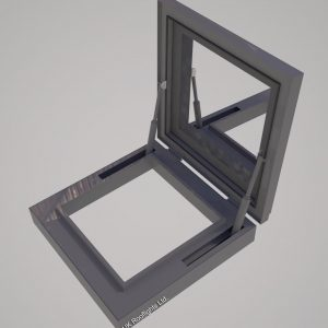 Openable Rooflight-metal only-Squared-Open-Position